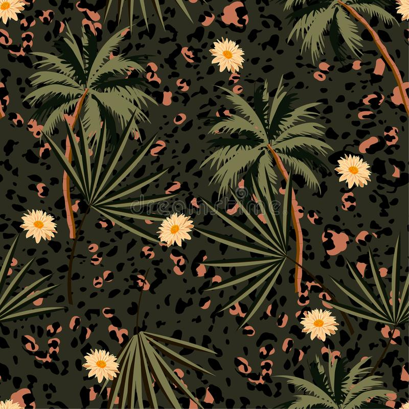 L'animal sans couture de cru imprime le modèle avec des plantes tropicales et des copies de léopard Conception d'illustration de  illustration de vecteur