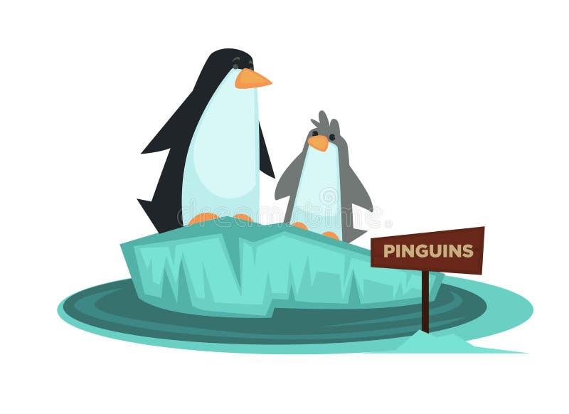 L'animale dello zoo del pinguino e l'insegna di legno vector l'icona del fumetto per il parco zoologico illustrazione di stock