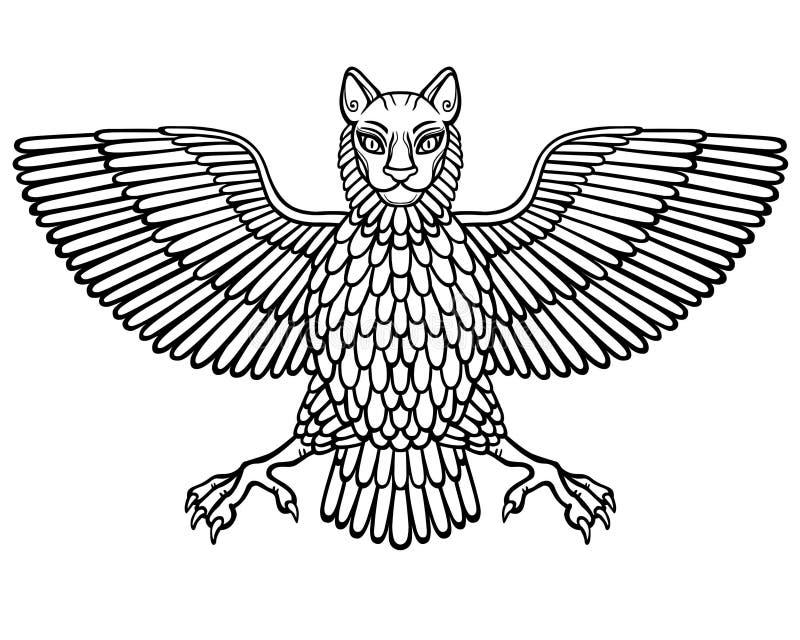 L'animale mitico, Anzud con un corpo di un uccello e della testa di un leone illustrazione vettoriale