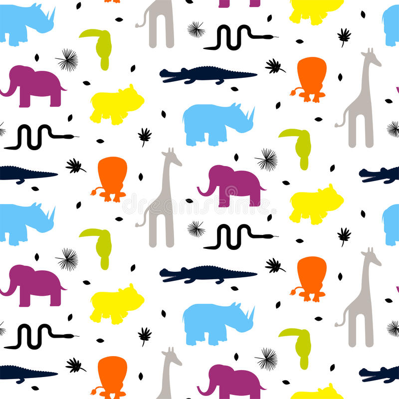 L'animale variopinto dello zoo profila il modello senza cuciture di vettore del bambino illustrazione di stock