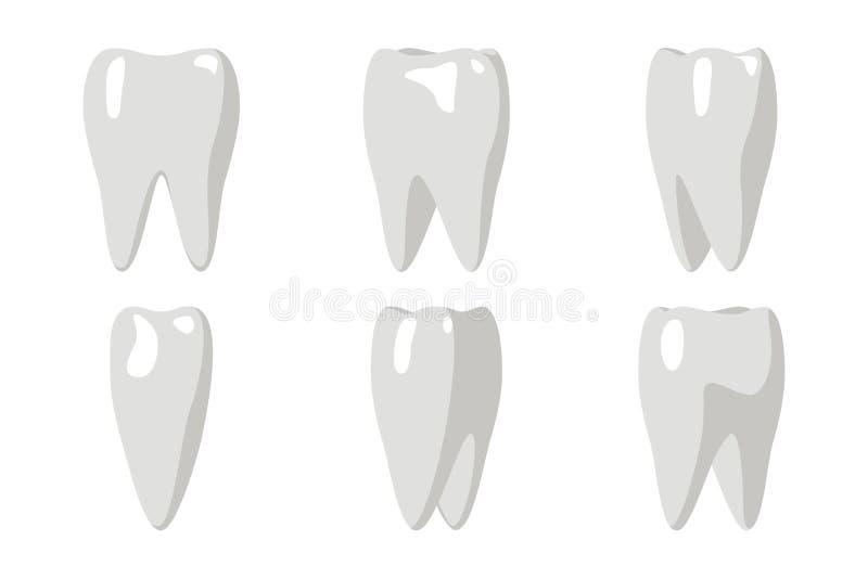 L'animation de rotation de dent de bande dessinée encadre le calibre Transperent d'icône d'isolement par conception plate dentair illustration stock