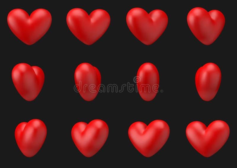 L'animation du coeur 3d de vecteur tournent autour elle-même du cadre 12 illustration de vecteur