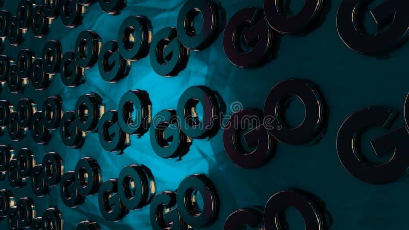 """L'animazione astratta dei logotypes tridimensionali del cromo """"va """"disporre sulla superficie lucida del turchese animazione motiv illustrazione vettoriale"""