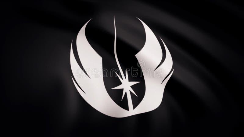L'animazione della bandiera del simbolo di ordine di Jedi Il tema delle guerre stellari Uso dell'editoriale soltanto royalty illustrazione gratis