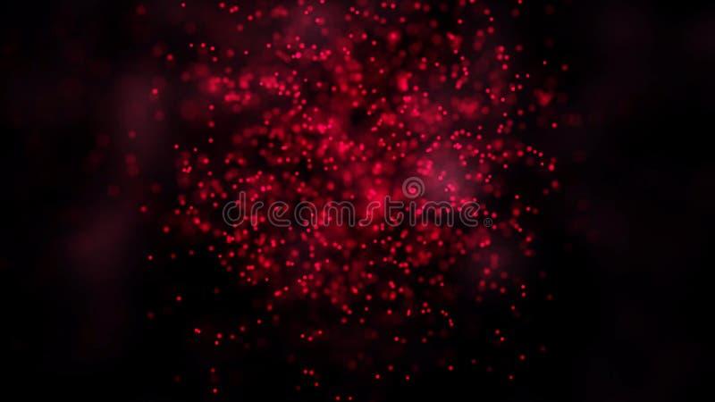 L'animazione delle particelle tremule di volo forma un simbolo del segno o di Internet di wifi su fondo scuro con la mappa della  royalty illustrazione gratis