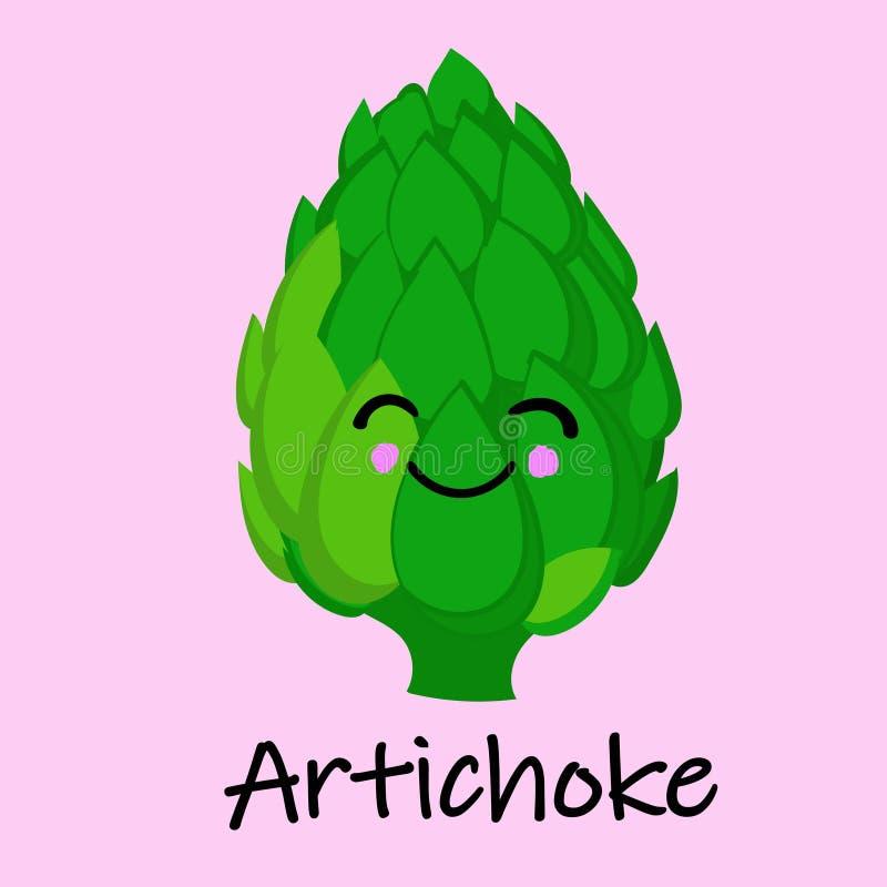 L'anime sveglio del carciofo ha umanizzato l'illustrazione di verdure sorridente di vettore di Emoji dell'alimento del fumetto illustrazione vettoriale