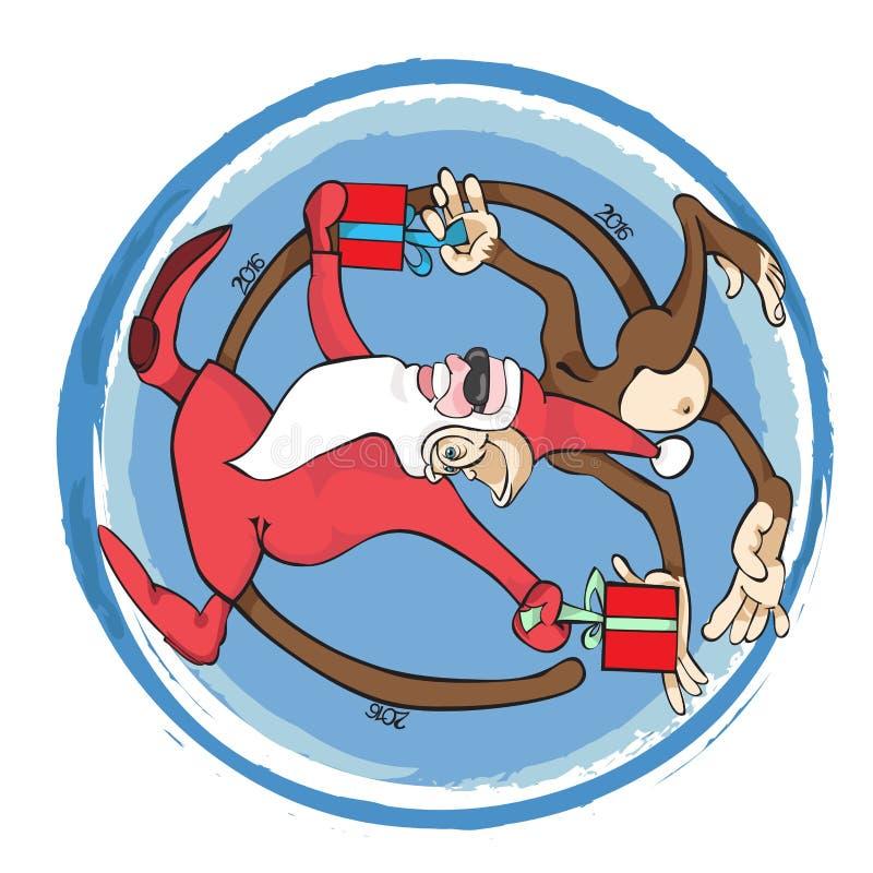 L'année du singe Santa Claus avec le singe illustration libre de droits