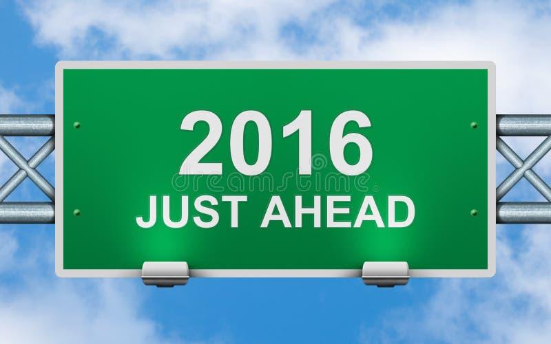 L'année prochaine juste en avant panneau routier illustration stock