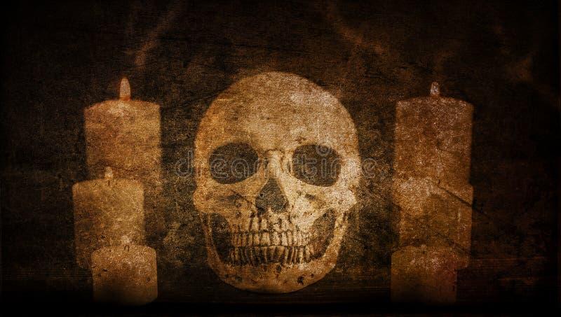 L'annata artistica astratta ha dipinto il cranio circondato dal fondo delle candele illustrazione vettoriale