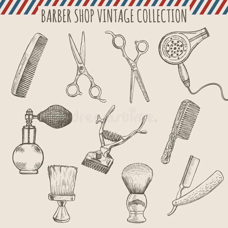 L'annata del negozio di barbiere di vettore foggia la raccolta Illustrazione disegnata a mano della matita illustrazione vettoriale