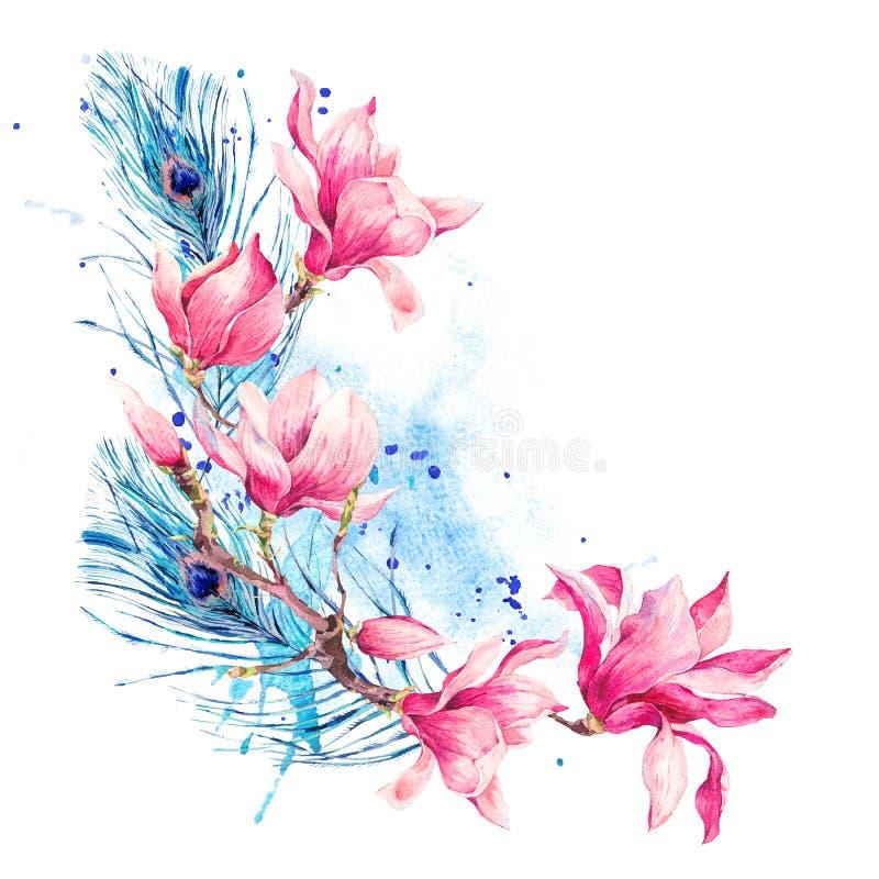 L'annata dell'acquerello fiorisce il mazzo della magnolia illustrazione di stock