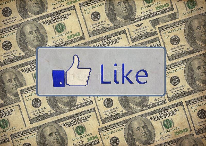 L'annata gradisce i dollari misti del facebook immagini stock