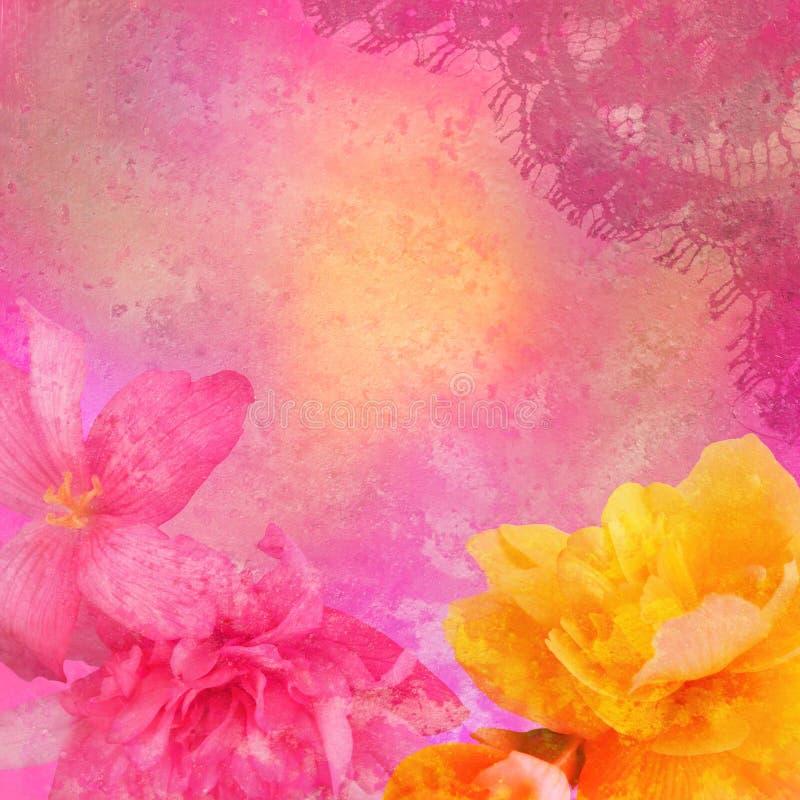 L'annata ha designato il blocco per grafici floreale immagine stock