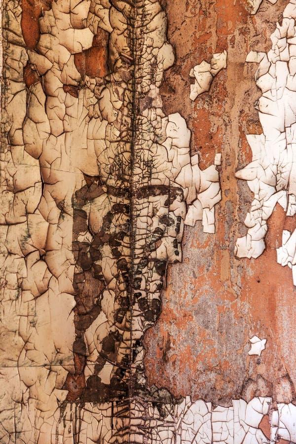 L'annata ha dipinto la struttura di legno del fondo della parete rustica stagionata di legno con la pittura della sbucciatura Spa immagine stock libera da diritti