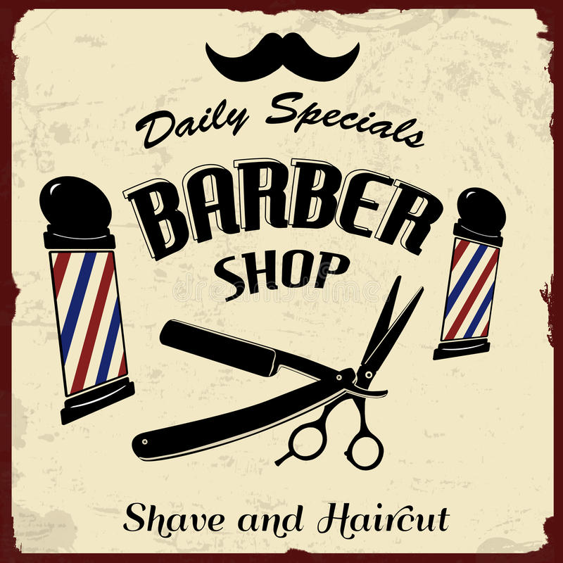 L'annata ha disegnato Barber Shop royalty illustrazione gratis