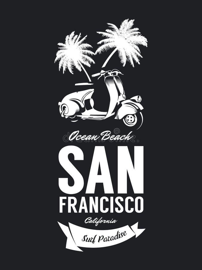 L'annata ha stato abbattuto il logo della maglietta di vettore del club dei motociclisti isolata su fondo scuro royalty illustrazione gratis