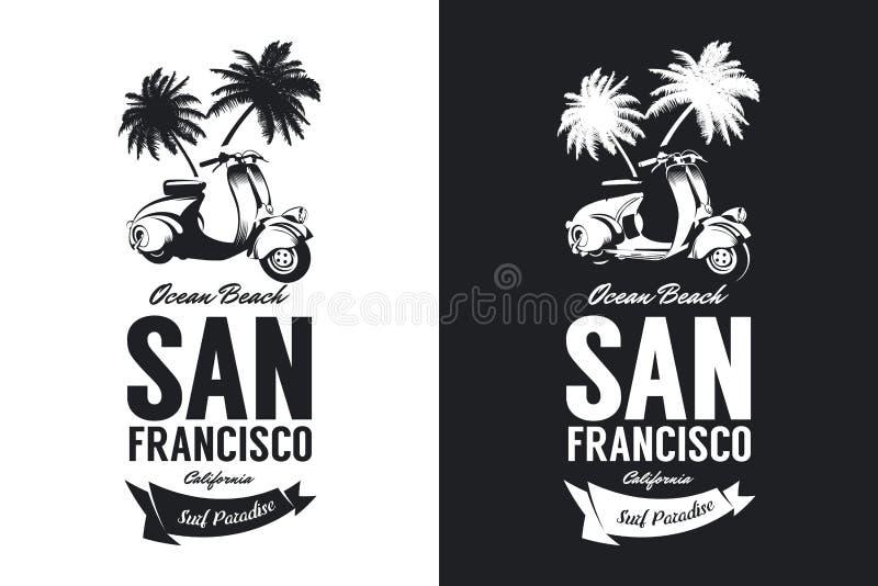L'annata ha stato abbattuto il logo isolato in bianco e nero della maglietta di vettore del club dei motociclisti illustrazione vettoriale