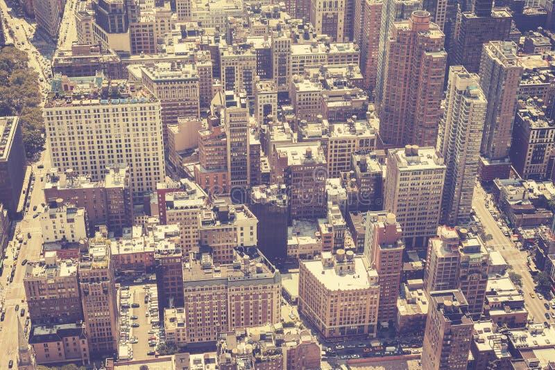 L'annata ha stilizzato l'immagine aerea di Manhattan, NYC fotografie stock libere da diritti