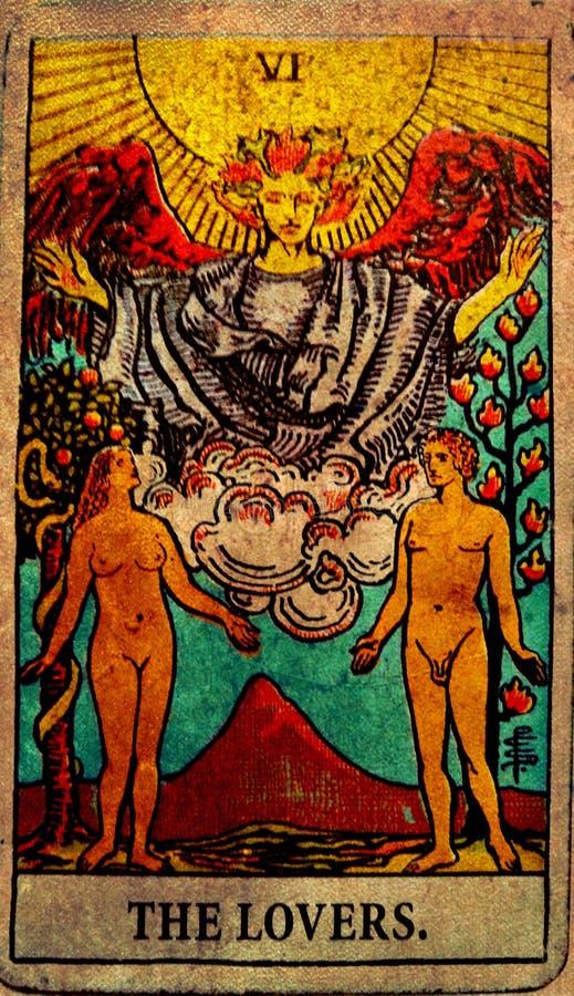L'annata le carte di tarocchi degli amanti ama l'affetto di associazioni di scelte Andare, un altro illustrazione di stock