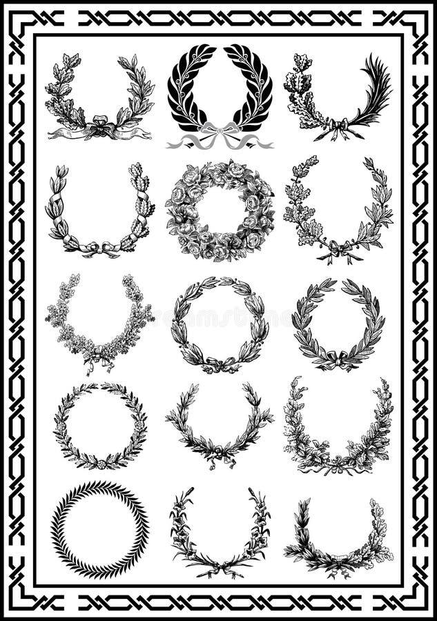 L'annata piacevole degli elementi incornicia il colore nero stabilito royalty illustrazione gratis