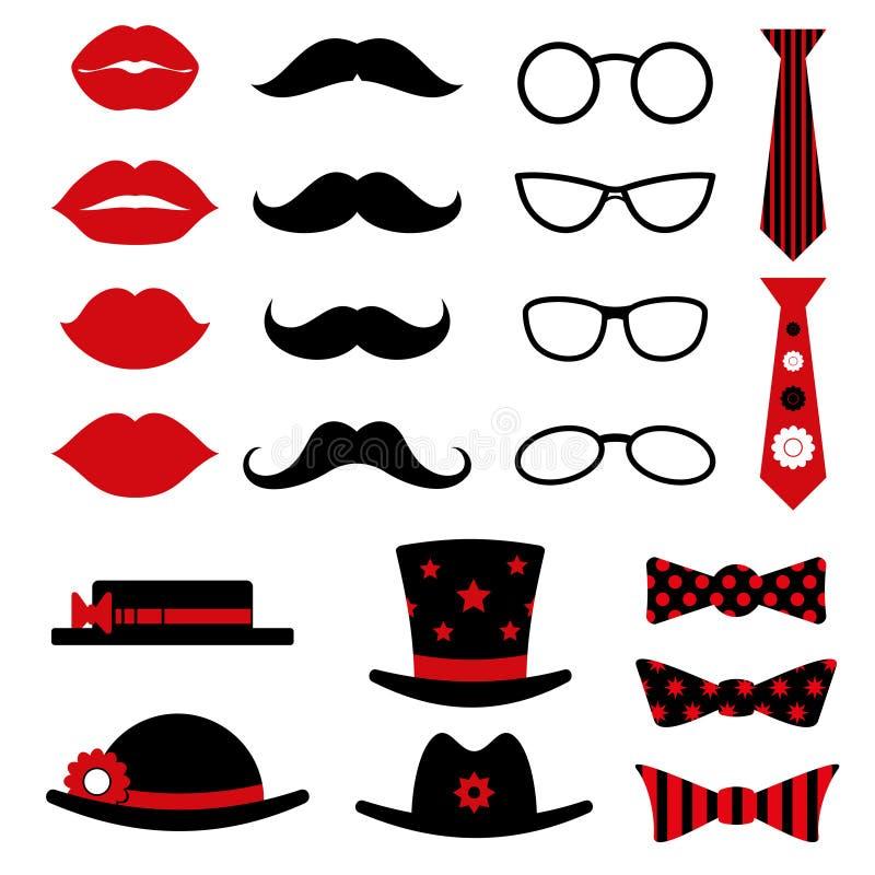 L'anniversaire de cabine de photo et le vecteur de partie ont placé avec des lèvres, moustaches, verres, noeud papillon de chapea illustration libre de droits