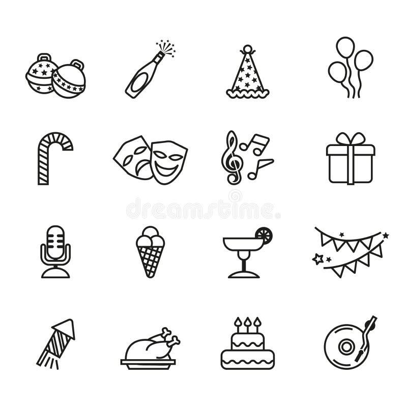 L'anniversaire et la partie célèbrent l'icône réglée avec le fond blanc illustration stock