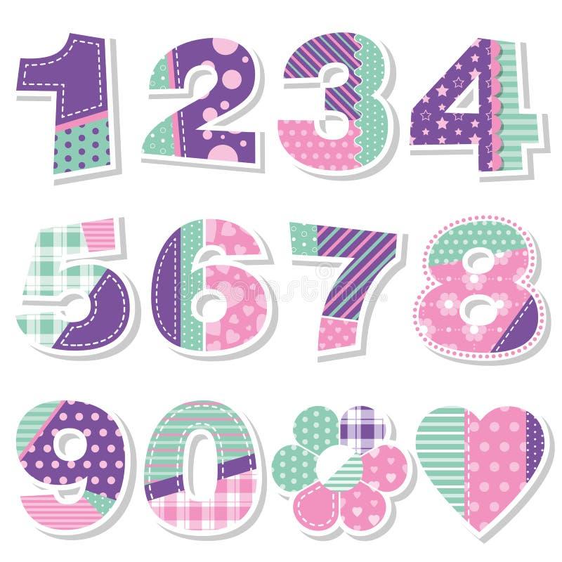 L'anniversaire mignon numérote la collection illustration de vecteur