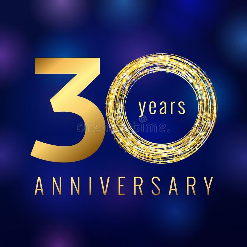 L'anniversario oro di numero di 30 anni ha colorato il logo di vettore royalty illustrazione gratis