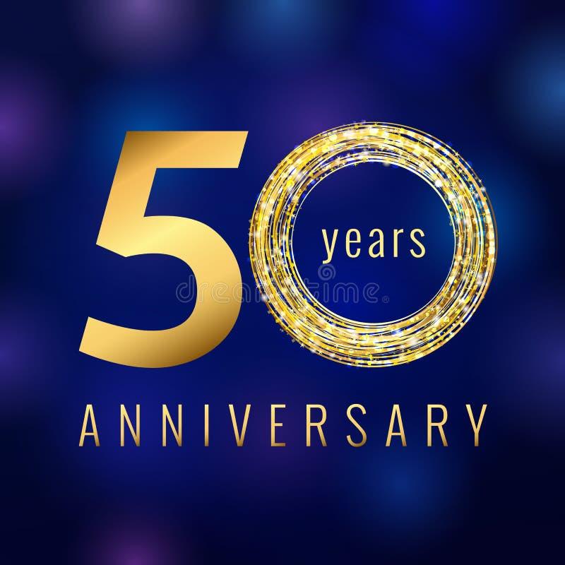 L'anniversario oro di numero di 50 anni ha colorato il logo di vettore illustrazione vettoriale