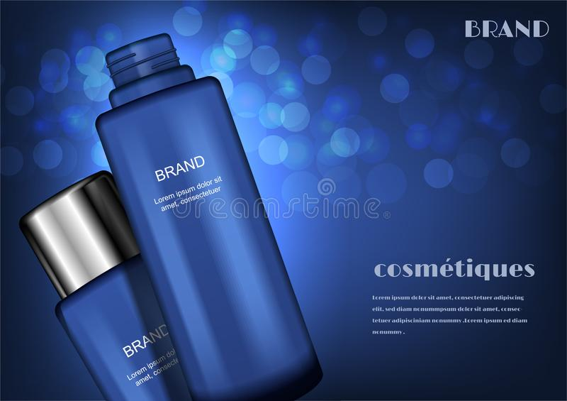 L'annonce cosmétique, se ferment vers le haut du sérum avec de petites bulles sur le dos bleu-foncé