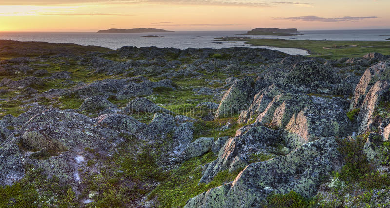 L'Anse Aux Meadows Sunset Panorama stock images