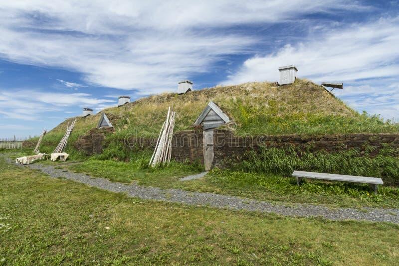 L'Anse Aux Meadows Viking Long Hall. Reproduction of a Viking long hall in L'Anse Aux Meadows National Historic Site, Newfoundland stock photos