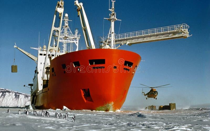 l'Antarctique, arrivée photo stock
