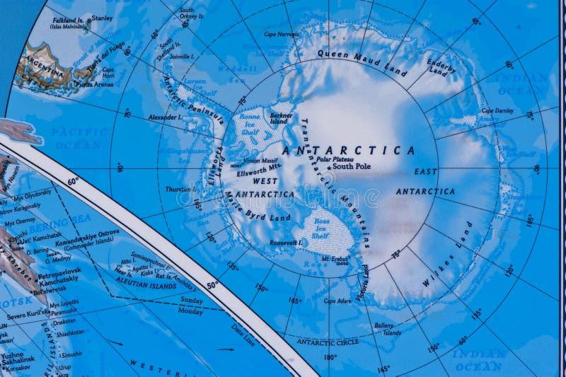 L'Antarctique sur la carte photo stock