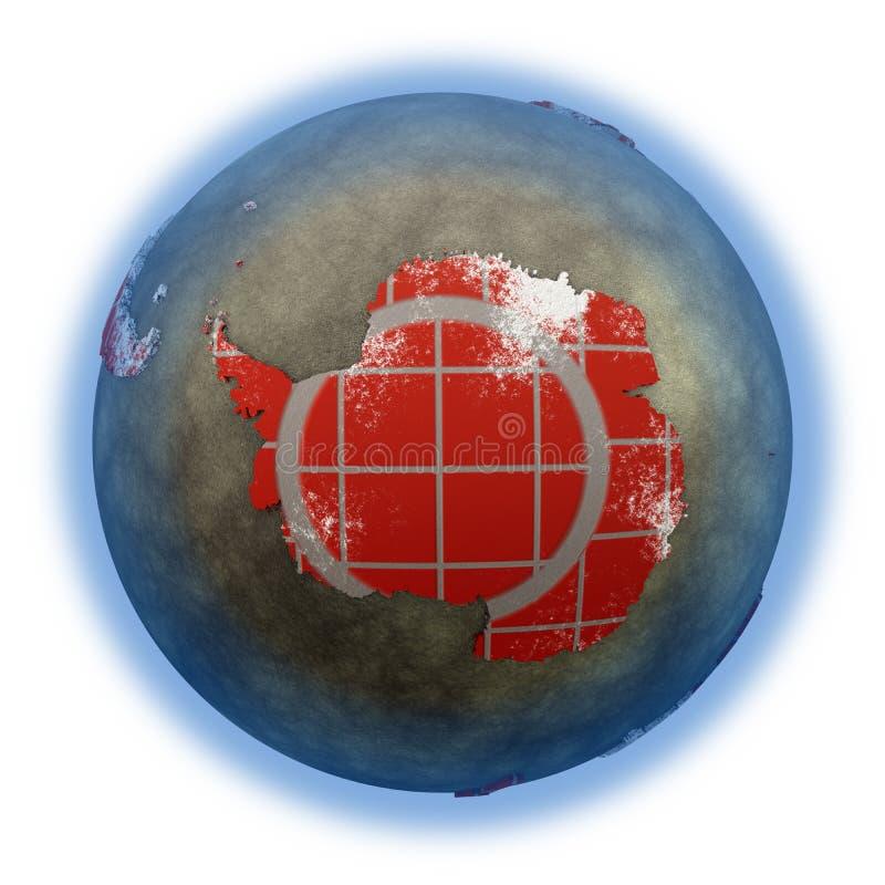 L'Antartide sulla terra del muro di mattoni royalty illustrazione gratis