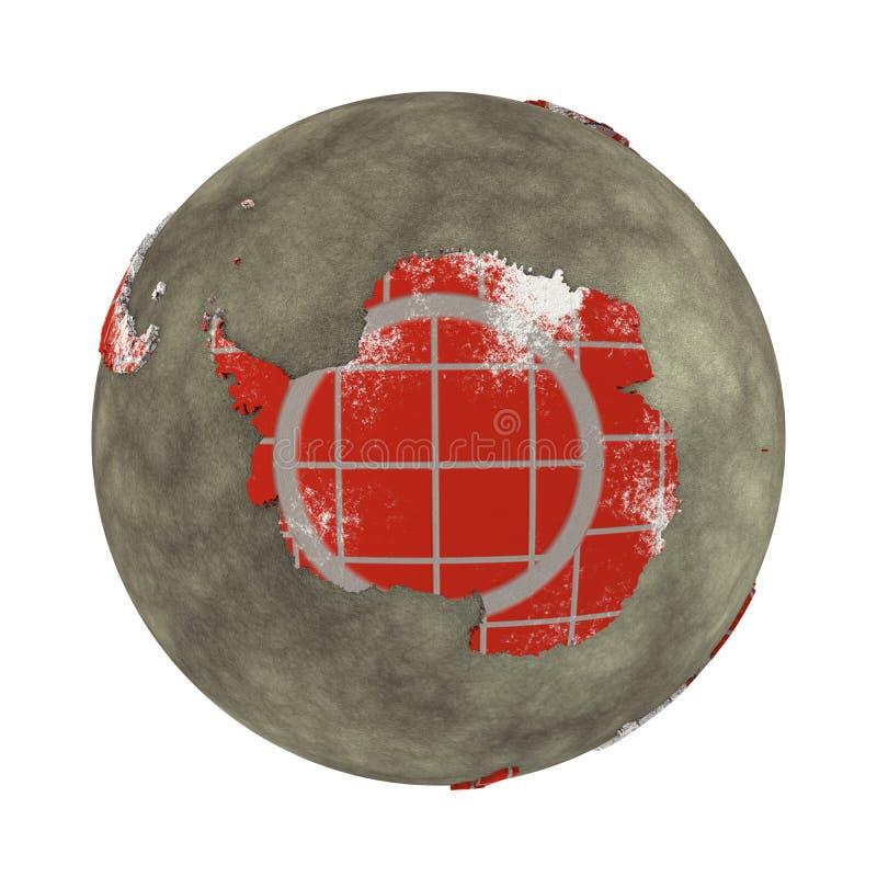 L'Antartide sulla terra del muro di mattoni illustrazione di stock