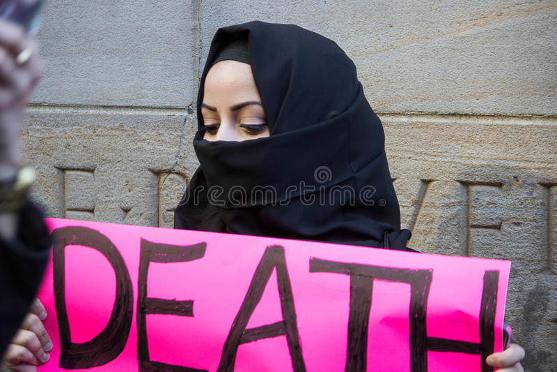 L'Anti-atout républicain du gala 2016 proteste NYC images libres de droits
