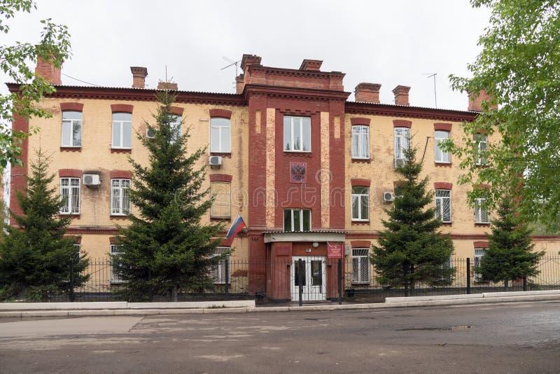L'antico costruendo 1913 dell'ufficio e della corte del procuratore militare della guarnigione di Krasnojarsk fotografie stock libere da diritti