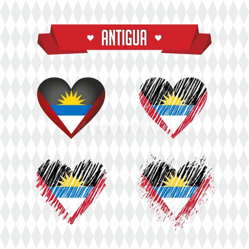L'Antigua-et-Barbuda avec amour Le coeur brisé de vecteur de conception avec le drapeau à l'intérieur illustration de vecteur