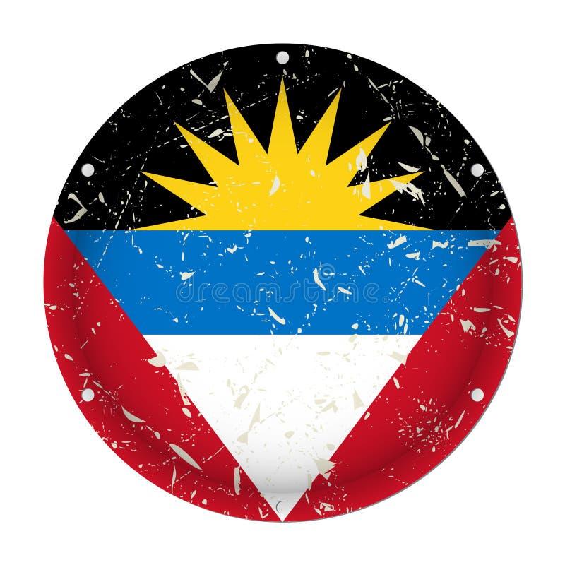 L'Antigua-et-Barbuda - drapeau rayé par métal rond illustration libre de droits