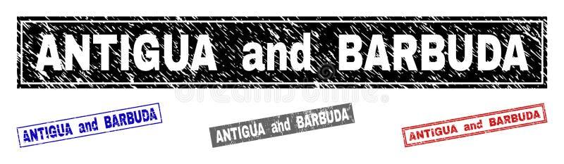 L'ANTIGUA-ET-BARBUDA grunge a donné à des filigranes une consistance rugueuse de rectangle illustration stock