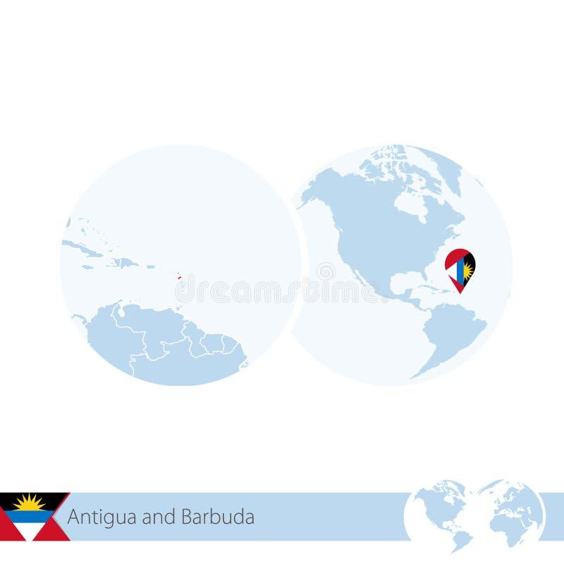 L'Antigua-et-Barbuda sur le globe du monde avec le drapeau et la carte régionale de l'Antigua-et-Barbuda illustration libre de droits
