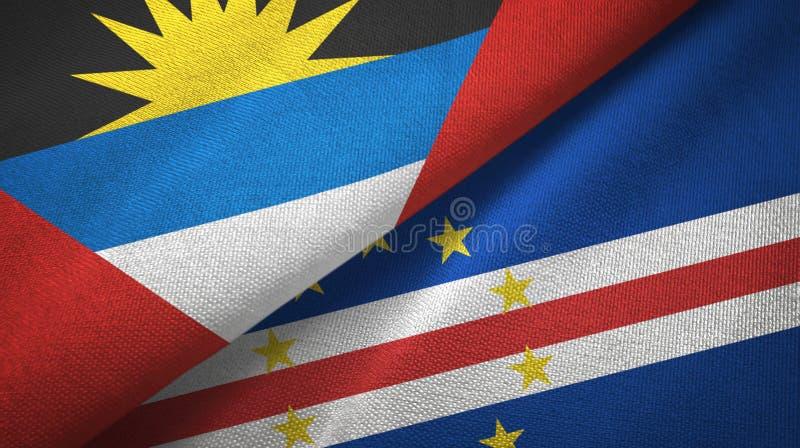 L'Antigua-et-Barbuda et tissu de textile de drapeaux de Cabo Verde deux de cap, texture de tissu illustration stock