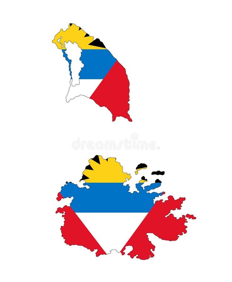 L'Antigua et le Barbuda Carte illustration de l'Antigua et du Barbuda de vecteur illustration libre de droits