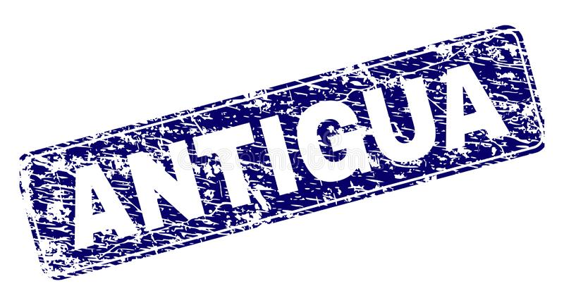 L'ANTIGUA grunge a encadré le timbre arrondi de rectangle illustration libre de droits