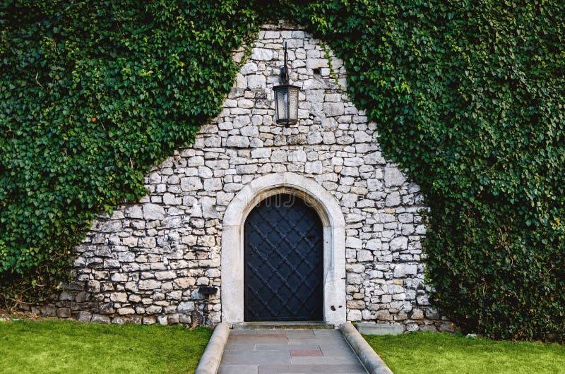 L'antiquité a arqué les portes en fer forgé dans un vieux mur en pierre de forteresse utilisant le lierre luxuriant vert Belle photographie stock libre de droits