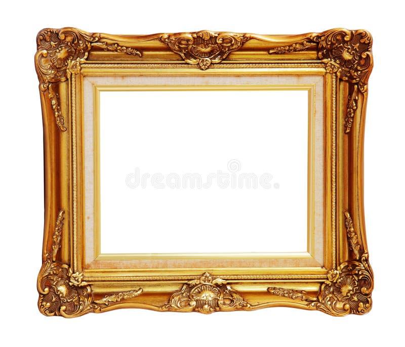 L'antiquité du cadre de photo d'or a isolé le chemin de coupure images libres de droits