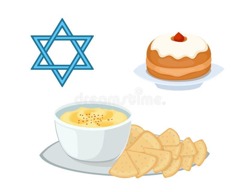 L'apéritif juif de tarte de nourriture de houmous a écrasé des pois chiches avec le matzah et le végétarien traditionnels de pers illustration stock
