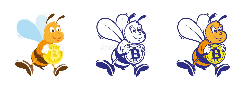 L'ape tiene il bitcoin royalty illustrazione gratis