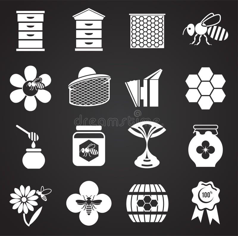 L'apicoltura ha collegato le icone messe su fondo per il grafico ed il web design Illustrazione semplice Simbolo di concetto di I illustrazione vettoriale